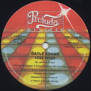 Gayle Adams / Love Fever back