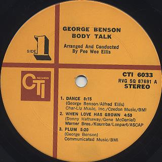 George Benson / Body Talk label