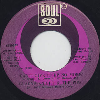 Gladys Knight And The Pips / Neither One Of Us (45) back