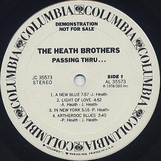 Heath Bros. / Passing Thru... label
