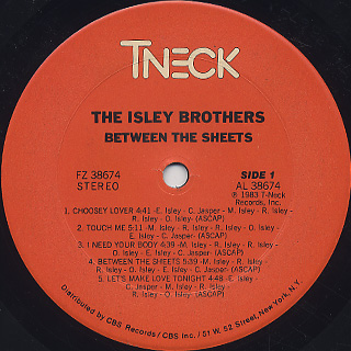 Isley Brothers / Between The Sheets label