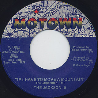 Jackson 5 / Little Bitty Pretty One c/w If I Have To Move A Mountain back