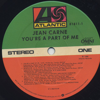 Jean Carne / You're A Part Of Me label