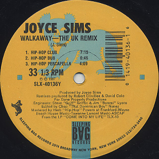 Joyce Sims / Walkaway c/w The UK Remix back