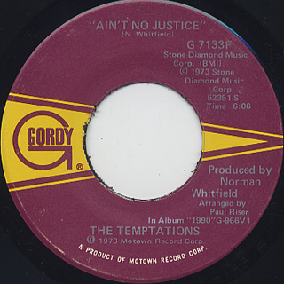 Temptations / Let Your Hair Down c/w Ain't No Justice back