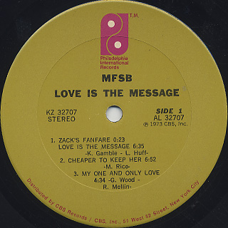 MFSB / Love Is The Message label