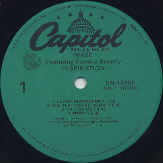 Maze featuring Frankie Beverly / Inspiration label