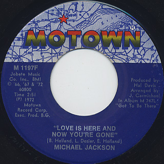 Michael Jackson / Rockin' Robin c/w Love Is Here And Now You're Gone back