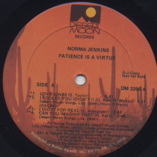 Norma Jenkins / Patience Is A Virtue label