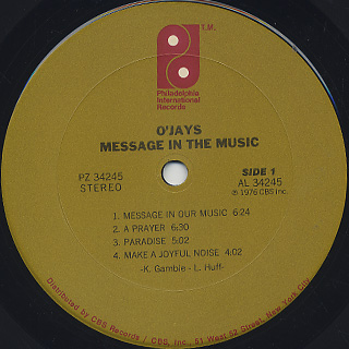 O'Jays / Message In The Music label