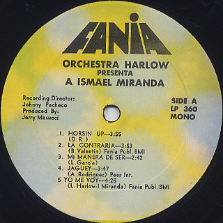 Orchestra Harlow / Orchestra Harlow Presenta A Ismael Miranda label
