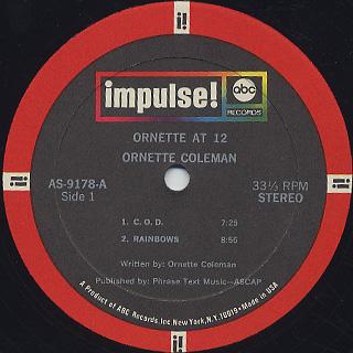 Ornette Coleman / Ornette At 12 label