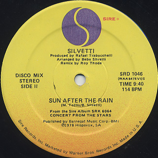 Silvetti / Concert From The Stars c/w Sun After The Rain back