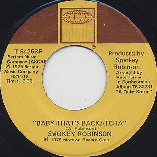 Smokey Robinson / Baby That's Backatcha back