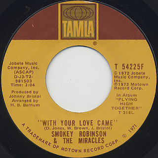 Smokey Robinson & The Miracles / I Can't Stand To See You Cry back