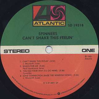 Spinners / Can't Shake This Feelin' label