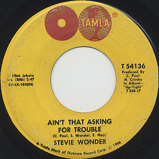 Stevie Wonder / Blowin' In The Wind c/w Ain't That Asking For Trouble back