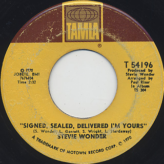 Stevie Wonder / Signed, Sealed, Delivered I'm Yours