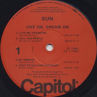Sun / Live On, Dream On label