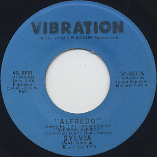 Sylvia / Alfredo c/w If You Get The Notion
