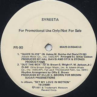 Syreeta / Quick Slick c/w Out The Box back