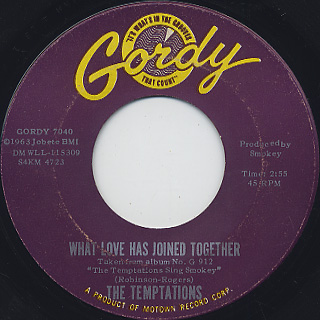 Temptations / It's Growing c/w What Love Has Joined Together back