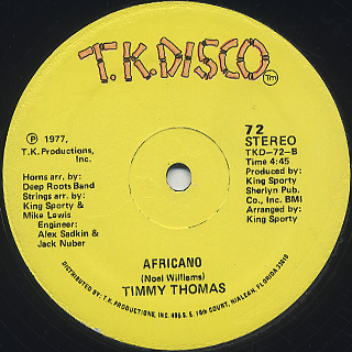 Timmy Thomas / Africano c/w Touch To Touch