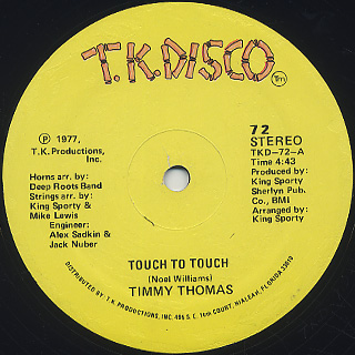 Timmy Thomas / Africano c/w Touch To Touch back
