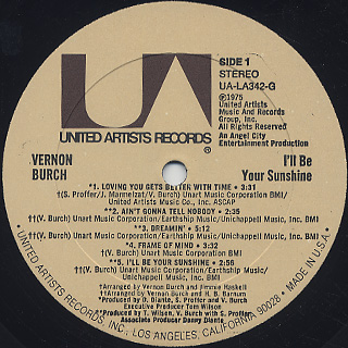 Vernon Burch / I'll Be Your Sunshine label