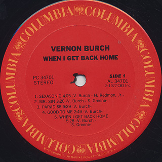 Vernon Burch / When I Get Back Home label