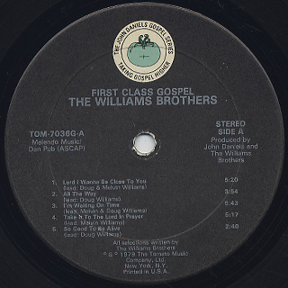 Williams Brothers / First Class Gospel label