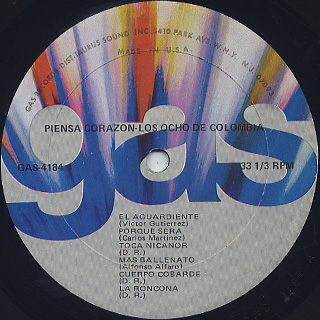 Los Ocho De Colombia / Piensa Corazón label