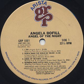 Angela Bofill / Angel Of The Night label