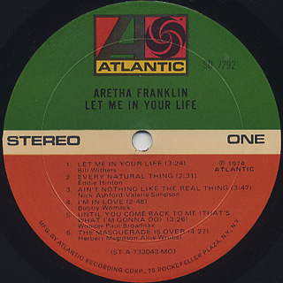 Aretha Franklin / Let Me In Your Life label