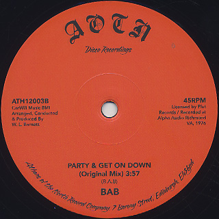 BAB / Party & Get Down back