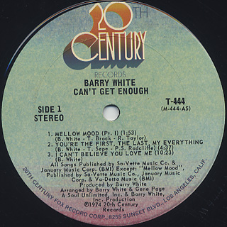 Barry White / Can't Get Enough label
