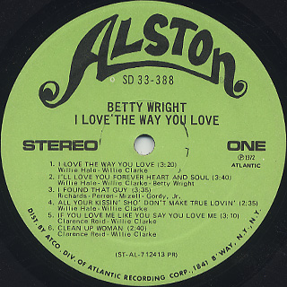 Betty Wright / I Love The Way You Love label