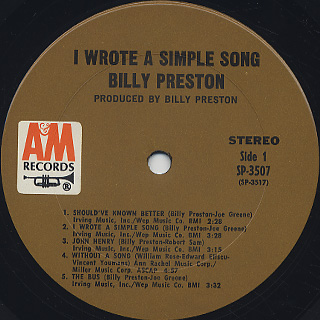 Billy Preston / I Wrote A Simple Song label