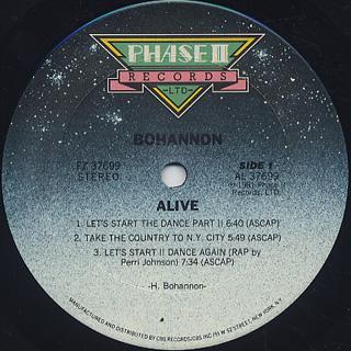Bohannon / Alive label