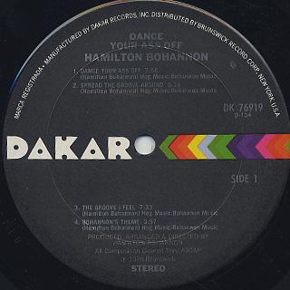 Bohannon / Dance Your Ass Off label