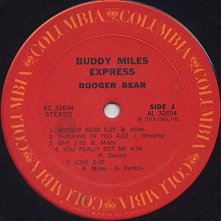 Buddy Miles Express / Booger Bear label