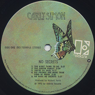 Carly Simon / No Secrets label