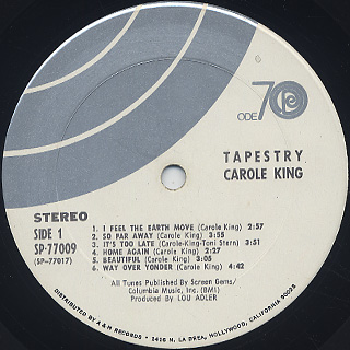 Carole King / Tapestry label
