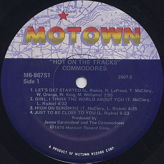 Commodores / Hot On The Tracks label