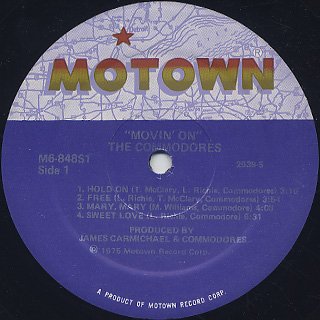 Commodores / Movin' On label