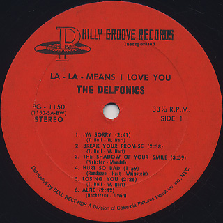 Delfonics / La La Means I Love You label