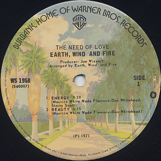 Earth, Wind and Fire / The Need Of Love label