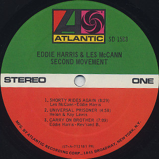 Eddie Harris and Les McCann / Second Movement label