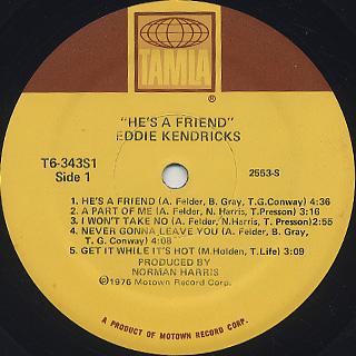 Eddie Kendricks / He's A Friend label