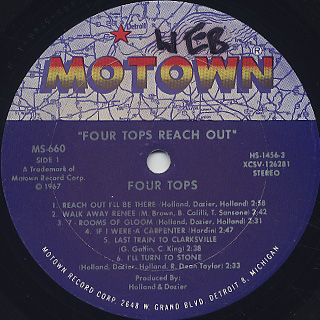 Four Tops / Four Tops Reach Out label